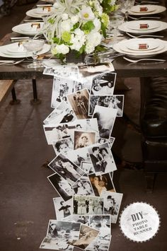 Old photo table runner. Use copies to save the originals! Maybe not tomthe floor like this one but on the guest sign in table