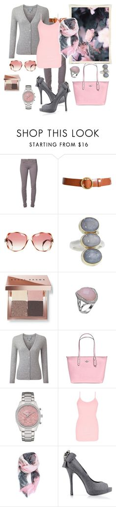 """Pink grey outfit"" by vst063090 ❤ liked on Polyvore featuring Joe's Jeans, Frame, Giorgio Armani, Jamie Joseph, Bobbi Brown Cosmetics, Stephen Webster, Pure Collection, Coach, Caravelle by Bulova and BKE"