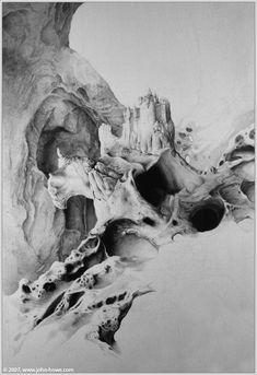 John Howe :: Illustrator Portfolio :: Home / Unpublished / Bone Castle John Howe, Jrr Tolkien, Fantasy, Mount Rushmore, Castle, Mountains, Comics, Illustration, Nature