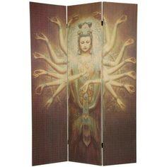 6 ft. Tall Thousand Arm Kwan Yin Bamboo Room Divider - OrientalFurniture.com