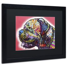 "Trademark Art ""Profile Mastiff"" by Dean Russo Matted Framed Painting Print Size: 11"" H x 14"" W x 0.5"" D"