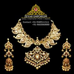 Gold uncut Peacock mala studded with uncut diamonds, real rubies, emeralds. Perfect bridal necklace with matching peacock jhumka. For price details and other info call or WhatsApp on 18k Gold Jewelry, Sterling Silver Jewelry, Jewellery Sketches, Jewellery Designs, Latest Jewellery, Décor Antique, Antique Engagement Rings, Victorian Jewelry, Bridal Necklace