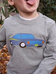 Retro Race Car Appliqué pattern pdf by Jen, for applique onto tshirts, bags etc.