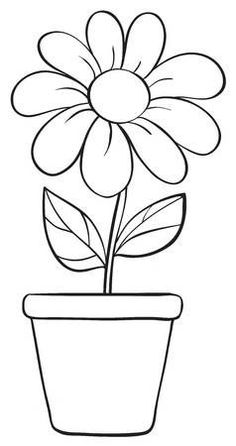 - Millions of Creative Stock Photos, Vectors, Videos and Music Files For Your Inspiration and Projects. Vector - illustration of a flower and a pot sketch on a white background Flower Drawing For Kids, Easy Flower Drawings, Art Drawings For Kids, Easy Drawings, Simple Flower Drawing, Printable Flower Coloring Pages, Easy Coloring Pages, Coloring Books, Sunflower Coloring Pages