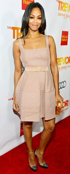 Zoe Saldana donned a blush cocktail dress at the Trevor Project benefit in Hollywood Dec. 2.