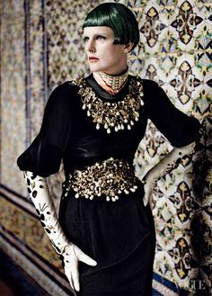 Amazing dress & gloves.  Stella Tennant  Hair: Orlando PitaFashion Editor: Camilla Nickerson