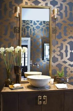 Contemporary Powder Room with interior wallpaper, Flush, Vessel sink, Phillip Jefferies Rings Wallpaper, European Cabinets