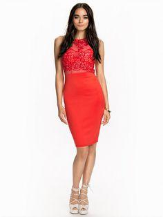 Nelly.com: Lace Bodycon Midi Dress - Ax Paris - nainen - Coral.