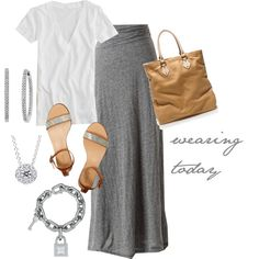 grey maxi, white tee, silver and tan