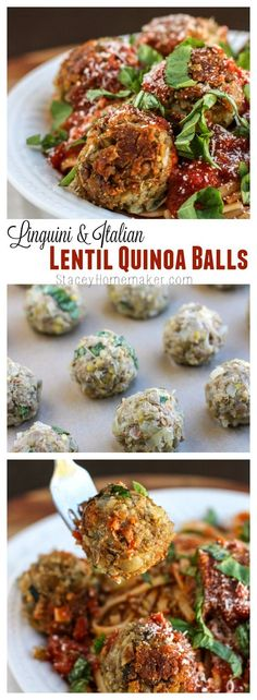 Vegan Italian Lentil Quinoa MeatBalls Italian lentil quinoa balls are really easy to assemble, they're packed with protein, and they bear a striking resemblance to real meatballs. They're delicate, with big Italian flavor and sautéed to toasty perfection. Veggie Recipes, Whole Food Recipes, Vegetarian Recipes, Cooking Recipes, Healthy Recipes, Vegan Vegetarian, Best Lentil Recipes, Vegan Quinoa Recipes, Hamburger Recipes