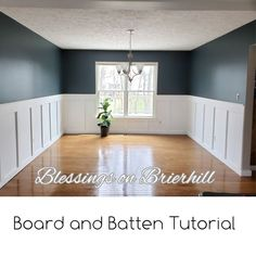 Dining Room Board and Batten Tutorial – Blessings on Brierhill. This tutorial provides a breakdown of steps I followed and the tips on what I would've done differently. Paint color is Blue Metal by Behr. Dining Room Paint Colors, Room Wall Colors, Dining Room Blue, Dining Room Walls, Dining Room Design, Kitchen Dining, Living Room, Dining Room Paneling, Design Kitchen