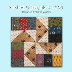 """""""Patched Geese"""" block from 100 Blocks Sampler Sew Along Block 39 // love this variation! Strip Quilts, Scrappy Quilts, Mini Quilts, Quilt Block Patterns, Pattern Blocks, Quilt Blocks, Half Square Triangle Quilts, Square Quilt, Flying Geese Quilt"""