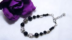 NEW Beaded Charm Bracelet, Black Beads, Silver Beads