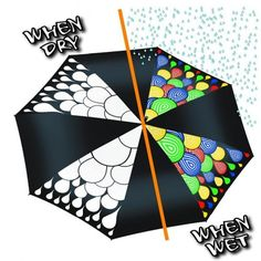 Colour Changing Umbrella - Adult Size hydrochromatic rain drops change on Yellow Octopus