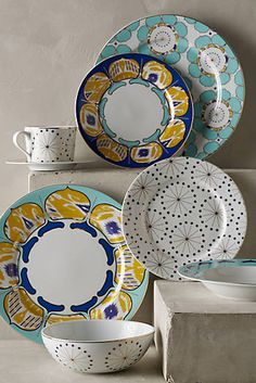 A mix of linear and fluid designs, these porcelain pieces are inspired by decorative tiles and rendered in petal-fresh hues. | Forbury Dinnerware via @anthropologie