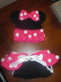 Girl Mouse Diaper Cover/Hat set Crochet