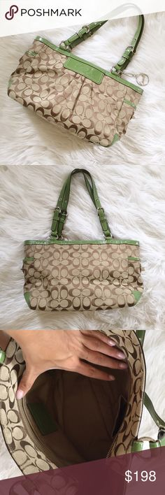 Coach Khaki Bag Gorgeous Coach khaki bag with pops of green. In excellent condition! No flaws. Doesn't even look used! SO cute. Perfect for fall. 14 (L) 9 (H) 5 (W) 25dcsxc Coach Bags