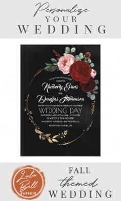 Wedding Invitations Diy Handmade, Burgundy Wedding Invitations, Gold Invitations, Floral Invitation, Wedding Stationery, Boho Wedding, Wedding Black, Burgundy And Gold, Modern Boho