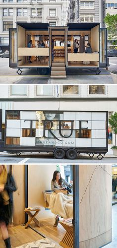 Mobile Office Architects and Spiegel Aihara Workshop collaborated to design and develop a mobile retail store for online clothing brand, True & Co.
