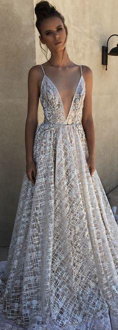BERTA spring 2018 deep-v neckline full lace beautiful romantic a-line wedding dress with bely - BERTA Spring 2018 Wedding Dresses | @bertabridal