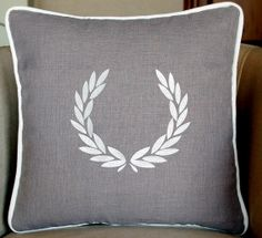 GREEK WREATH embroidered pillow covers Grey by letsdecorateonline, $39.40