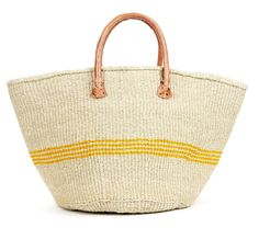 Woven straw tote with stitched leather handle