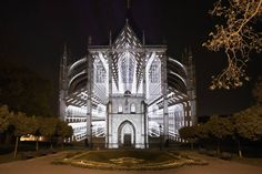 The original video mapping entitled SPECTRUM by The Macula group was projected on the front of the Church of St. Barbora.