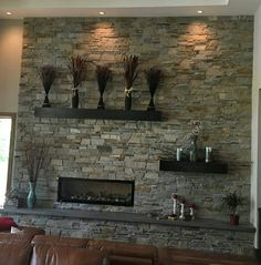 Stone work in livingroom