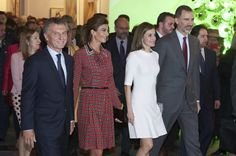 King Felipe VI of Spain (R), Queen Letizia of Spain (2R), Argentina's President Mauricio Macri (L) and wife Juliana Awada (2L) attend the opening of ARCO 2017 (Contemporary Art Fair) at Ifema on February 23, 2017 in Madrid, Spain.