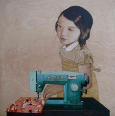 """""""sewing 6"""" a new painting by sean mahan"""