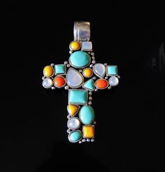 UNIQUE Southwestern NATIVE American Inspired 5+ Carats GEMSTONE Cross in STERLING Silver  For LADIES or MEN - $125