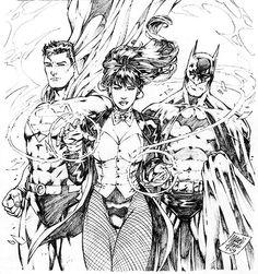 Zatanna en compagnie de Superman et Batman