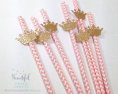 25 Royal Gold Crown Straws Pink and Gold by BeautifulPaperCrafts Princess Birthday Party Decorations, Pink Princess Party, Princess Theme Birthday, Pink And Gold Birthday Party, Baby Shower Princess, Gold Party, First Birthday Parties, Birthday Party Themes, First Birthdays