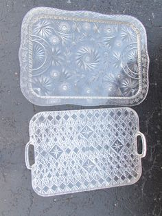 Vintage CUT Acrylic Clear Lucite Plastic Large Serving Tray Platters starburst  #unbranded