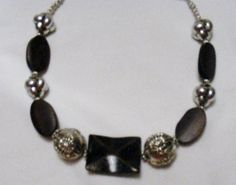 Necklace Big Chunky Silver Metal and Dark Brown Wood by CindyDidIt, $20.00