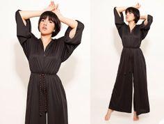 70s Black Disco Jumpsuit Union Made Hippie Pant Suit by SHOPAT851, $68.00