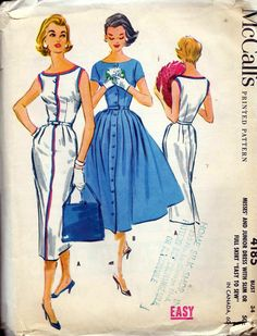 McCalls 4185 Vintage 1957 Button Front Wiggle or Full Skirt Vintage Dress Patterns, Vintage Dresses, Vintage Outfits, Barbie Patterns, Mccalls Patterns, 1950s Fashion, Vintage Fashion, 1960s Wedding Dresses, Patron Vintage