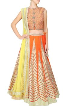 Orange gota patti embroidered lehenga set available only at Pernia's Pop Up Shop.