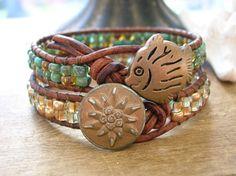 Turquoise leather wrap bracelet beach jewelry Reef by 3DivasStudio