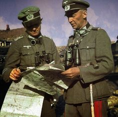 """Oberst Walter Hoernlein ,Commander of the Infanterie-Regiment """"Großdeutschland"""", with an officer. Eastern Front 1941, pin by Paolo Marzioli"""