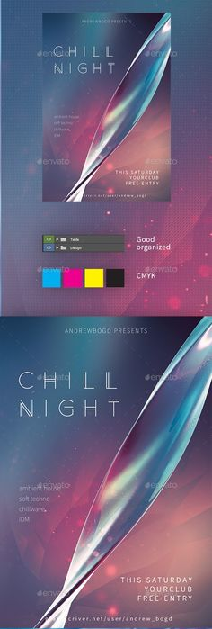FeaturesPSD CMYK color 300 dpi Fully layered and editable Print ready Free fonts usedClean and mininal design Free Font Source Sans Pro Anders Baby Design, Free Design, Design Art, Graphic Design, Flyer Design Templates, Flyer Template, Party Flyer, Chill, Cool Designs