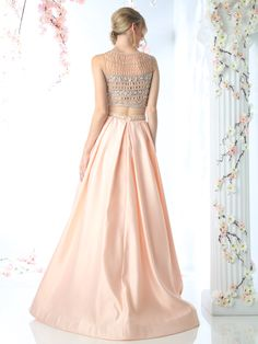 CR740 Beaded Two Piece Evening Gown with Pocket - Peach, Back View Medium
