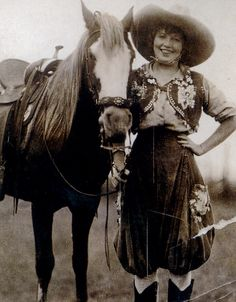 Cowgirl, Prairie Rose Henderson, 1880-1939, champion bronc rider and fierce relay racer.  Known for her daring and her flair for beautiful and inventive performance costumes.