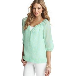 Loft - LOFT petite blouses - Petite Multi Dot Print Peasant Top