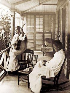 Music on the lanai, 1880s, Oahu, Hawaii.