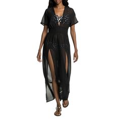 This long sheer beach dress takes you from the beach to the bar in style. The georgette fabric is floaty and flattering, while the cinched in waist accentuates your curves and the side seam slits add a sexy touch. Georgette Fabric, Curves, Wrap Dress, Short Sleeve Dresses, Beach, Sexy, Style, Fashion, Moda