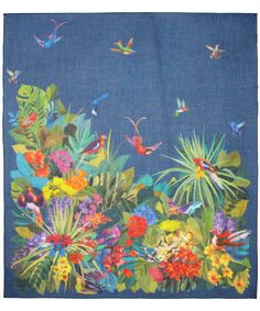 Blue Exotic Birds Print Scarf, Liberty London