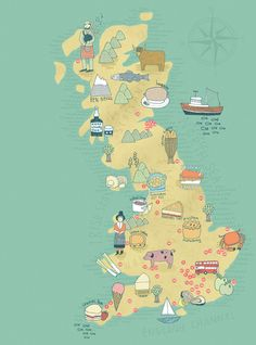Kate Sutton Illustration food map of Britain
