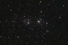 The Double Cluster (Dec 4 2009)  Credit & Copyright: Neil Fleming A lovely starfield in the heroic northern constellation Perseus holds this famous pair of open or galactic star clusters, h and Chi Perseii. Also cataloged as NGC 869 (right) and NGC 884, both clusters are about 7,000 light-years away and contain stars much younger and hotter than the Sun. Separated by only a few hundred light-years, the clusters' ages based on their individual stars are similar. #astronomy