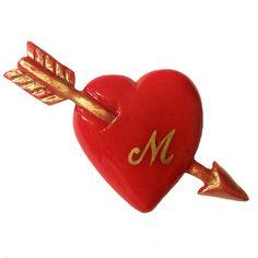 Heart & Arrow Brooch / Red x Initial (予約商品)